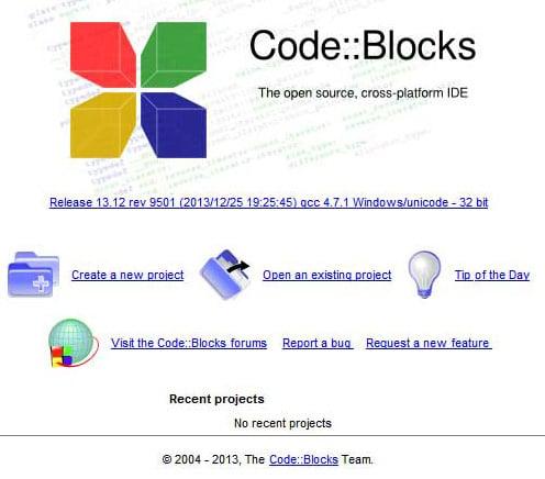 Стандартное окно приветствия Code::Blocks